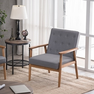Link to Retro Modern Wooden Single Accent Chair Grey Fabric Coshion Similar Items in Living Room Chairs
