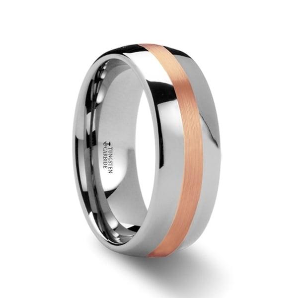 THORSTEN - ALPHEUS Rose Gold Inlaid Domed Tungsten Ring