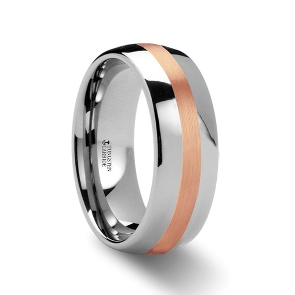 Alpheus Rose Gold Inlaid Domed Tungsten Ring