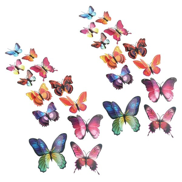 24pcs 3D Butterfly Sticker Pin Type for Room Decoration Brown Blue - Brown, Blue