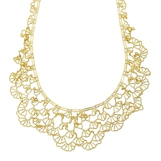 Just Gold Beaded Flower Necklace with Scalloped Edges in 14K Gold - Yellow