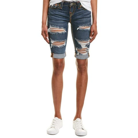 True Religion Riley Emerald Ambition Destroy Knee Length Short