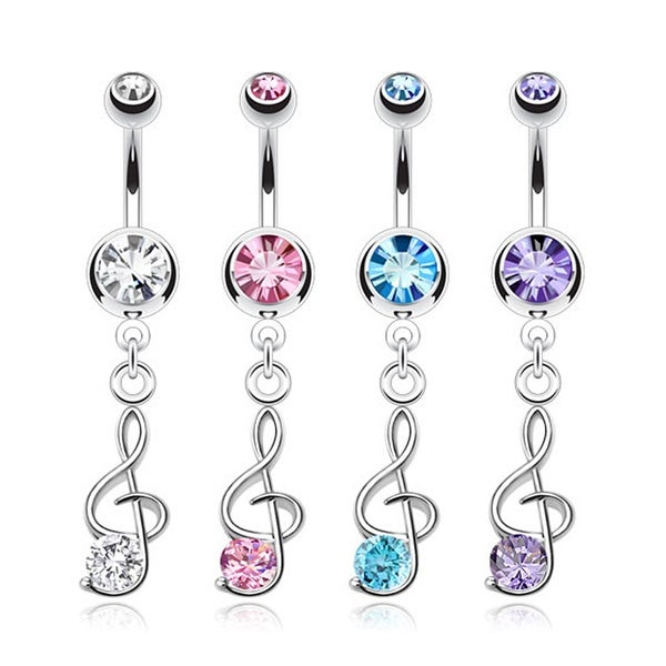 Treble Clef Music Note Dangle Navel Belly Button Ring 316L Surgical Steel