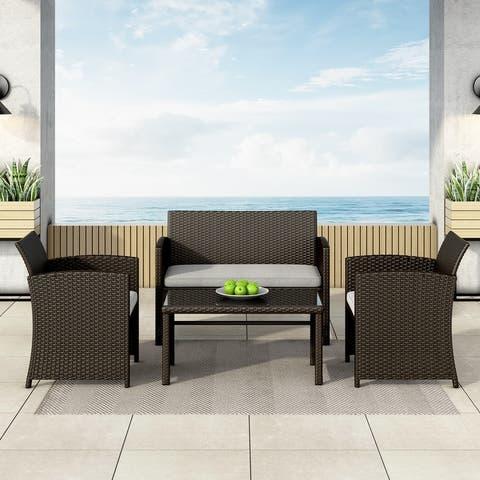 Corvus Alsace 4-piece Outdoor Rattan Sofa Conversation Set with Cushions