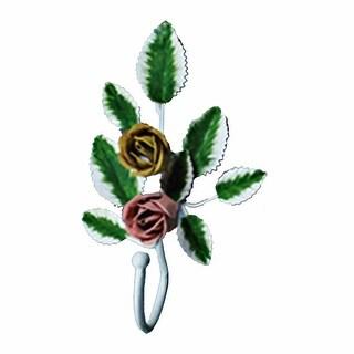 Flower Robe Hook Wrought Iron Pink Rose