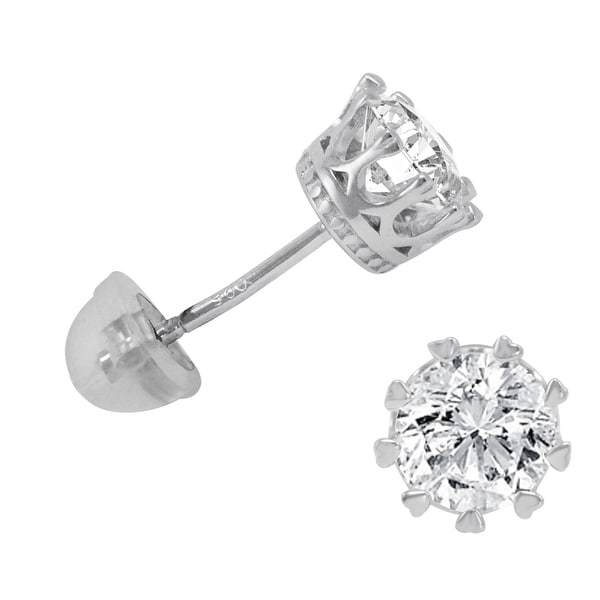 Amanda Rose 2ct tw Sterling Silver Crown Stud Earrings made with Swarovski Cubic Zirconia