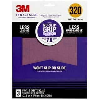 "3M 25320P-G Pro Grade No-Slip Grip Advanced Sandpaper, 9"" x 11"""
