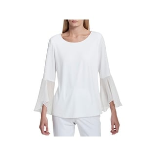 Shop Calvin Klein Womens Blouse Chiffon Flare Sleeves Free
