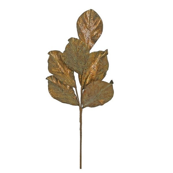 "21"" Autumn Harvest Metallic Copper Wash Artificial Thanksgiving Magnolia Leaf Pick"