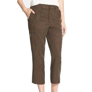 Vince Camuto NEW Brown Women's Size 2X25 Capris Cropped Front-Tab Pants