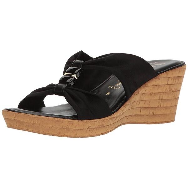 ITALIAN Shoemakers Womens Luna-1 Fabric Open Toe Casual Mule Sandals - Black