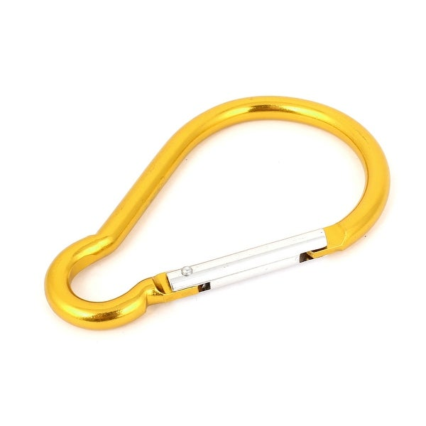 Unique Bargains Outdoor Sports Travel Spring Loaded Carabiner Hooks Clips Gold Tone 10cm Long