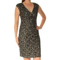 AMERICAN LIVING Womens Black Cap Sleeve V Neck Above The Knee Sheath Dress  Size: 8