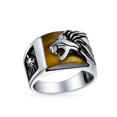 Mens Gemstone Brown Tiger Eye Lion Ring Solid 925 Sterling Silver