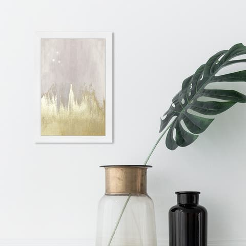 Oliver Gal 'Offwhite Starry Night' Abstract Framed Wall Art Prints Paint - Gold, Gray