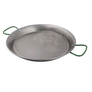 World Cuisine Polished Carbon Steel 35.5 Inch Paella Pan with Four