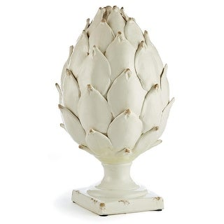 "20"" Handcrafted Distressed Garden White Layered Alloro Leaf Statue"