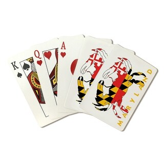 MD - Crab Flag (White w/ Yellow Text) - LP Artwork (Poker Playing Cards Deck)