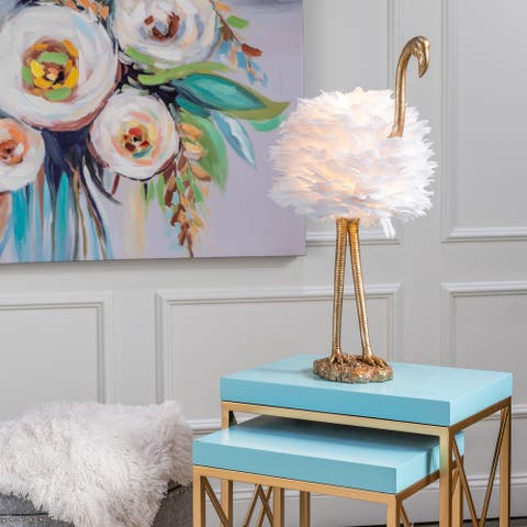 "30""H Gold & White Flamingo Table Lamp - 30""H x 19""W x 14""D"