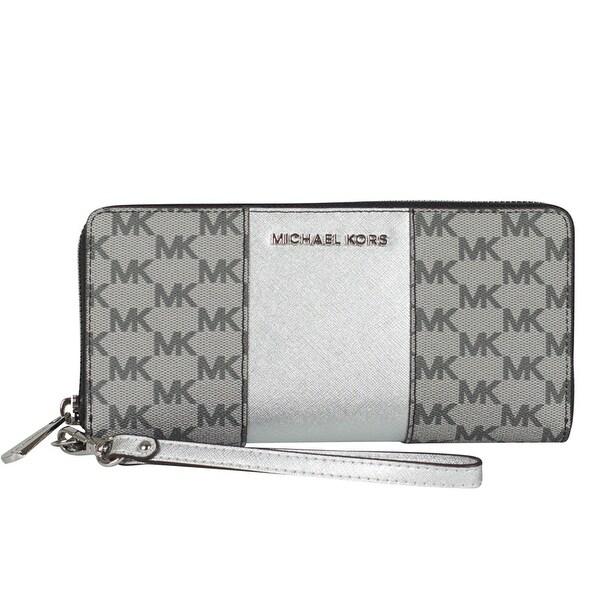 101a62c4b99a Shop Michael Kors Center Stripe Continental Wallet Wristlet in Black ...