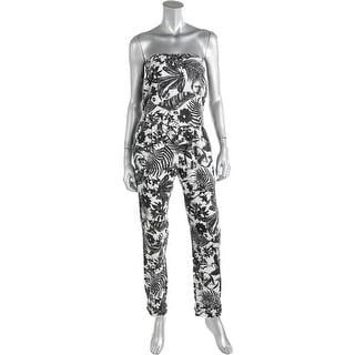 Zara Trafaluc Womens Linen Strapless Jumpsuit - XS