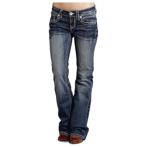 Stetson Western Denim Jeans Womens Flared Med Wash