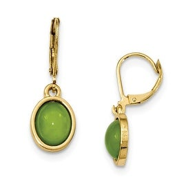 Goldtone Green Glass Shepherds Hook Earrings