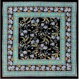 Unique Handmade 100% Cotton French Floral Tablecloth 60x60 Square Black-Blue & Black-Amber