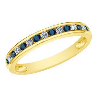 Prism Jewel 0.45CT Channel Set Blue Diamond with Natural Diamond Anniversary Band