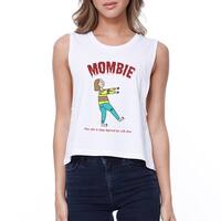 Mombie Sleep Deprived Womens White Crop Tee Shirt Gifts For Moms