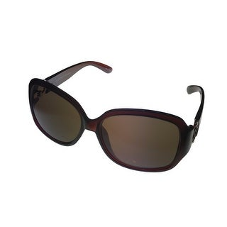 Ellen Tracy Womens Sunglass 539 3 Burgundy Crystal Rectangle Plastic Gradient Lens - Medium