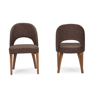 Timeless Lucas Mid-Century Style Brown Fabric Dining Chair - 2pcs