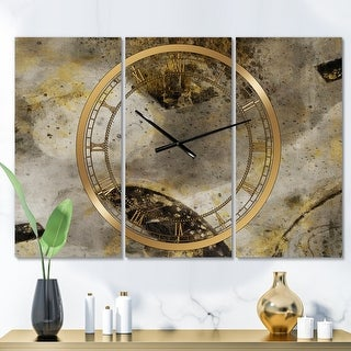 Link to Designart 'Glam Gold Desert Neutral' Glam 3 Panels Large Wall CLock - 36 in. wide x 28 in. high - 3 panels Similar Items in Decorative Accessories