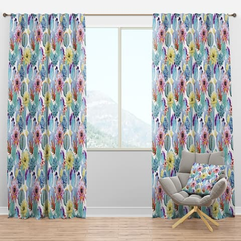 Designart 'Blossoming Cactus with Tropical Flower' Floral Blackout Curtain Panel