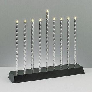 Battery Operated Diamond Cut Multi-function LED Hanukkah Menorah - N/A
