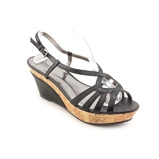 Charles By Charles David Thesis Women Open Toe Leather Black Wedge Sandal
