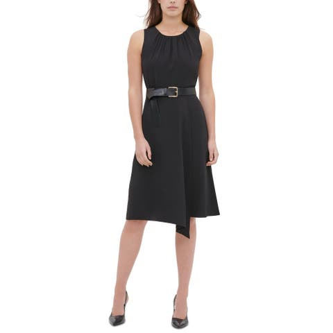 Calvin Klein Womens Wear to Work Dress Ruched Faux Wrap - Black