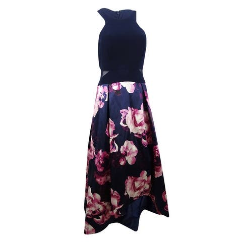Xscape Women's Solid & Floral-Print High-Low Gown