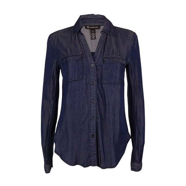 a07d3634435 Shop INC International Concepts Women s Denim Button-Down Top - Indigo - Free  Shipping On Orders Over  45 - Overstock.com - 16152556
