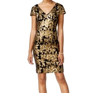 Adrianna Papell NEW Gold Womens Size 16W Plus Sequin Sheath Dress
