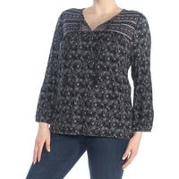 SANCTUARY Womens Black Embroidered Floral Long Sleeve V Neck Peasant Top  Size: XL