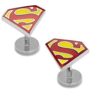 Textured Transparent Enamel Superman Shield Cufflinks