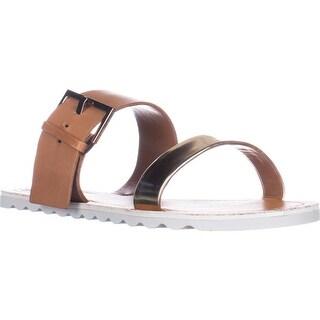 Vince Camuto Motter Fisherman Flat Slide Sandals - Flash Gold/Tan