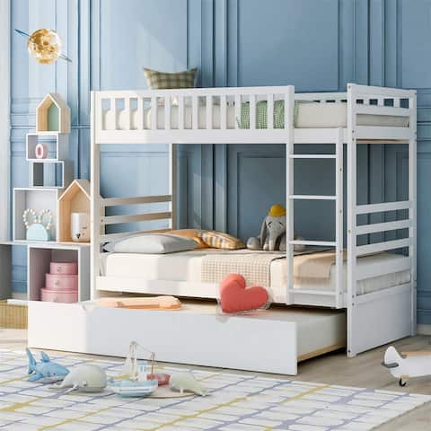 Merax Wood Twin-over-Twin Bunk Bed with Trundle