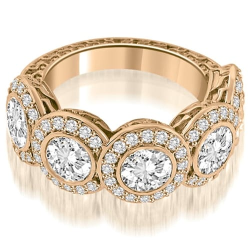 3.18 cttw. 14K Rose Gold Antique Halo Cluster Diamond Ring