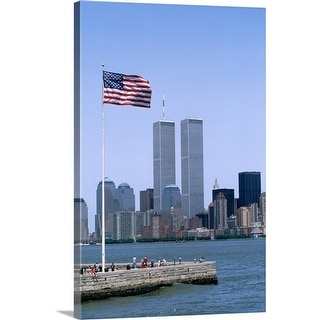 """""""American flag and World Trade Center Towers, New York City"""" Canvas Wall Art"""