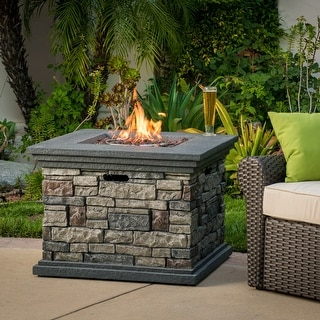 Link to Chesney Outdoor Square Fire Pit by Christopher Knight Home Similar Items in Fire Pits & Chimineas