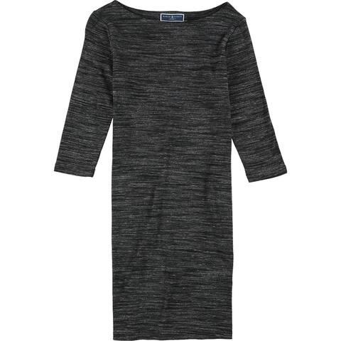 Karen Scott Womens Heathered Sheath Dress, Black, X-Small
