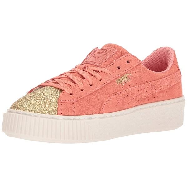 Shop PUMA Girls Suede Platform Glam Low Top Lace Up Walking