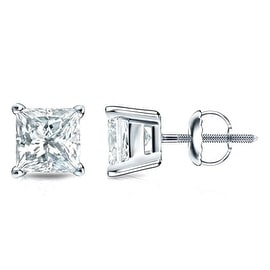 Princess Cut Diamond Stud Earrings Screw Back 0.21cttw Diamonds White Gold Tone Silver 4 Prong
